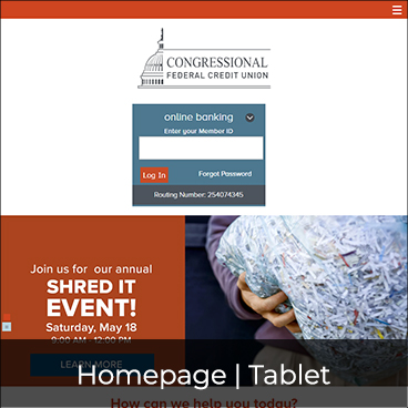 Homepage - Tablet