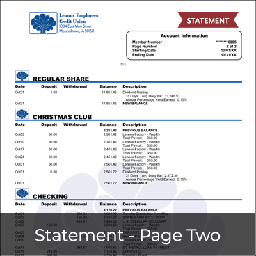 Statement - Page Two Preview
